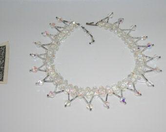 Outstanding Vintage Necklace Aurora Borealis Swarovski Cut Crystal Beads