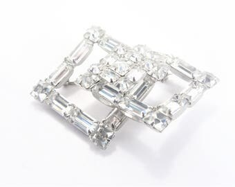 Vintage Clear Baguette Rhinestone Brooch Pin Rhodium Plated 50s