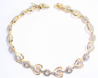 Vintage Gold over Sterling Vermeil Heart Illusion Bracelet