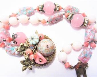 Vintage Pink Art Glass Bead Bracelet As Found