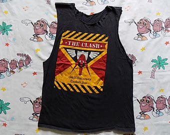 Vintage 80's The Clash Rock The Casbah cut off Tank Top, size Small 1982 Combat Rock punk new wave