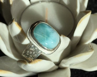 Larimar ring with decorative band