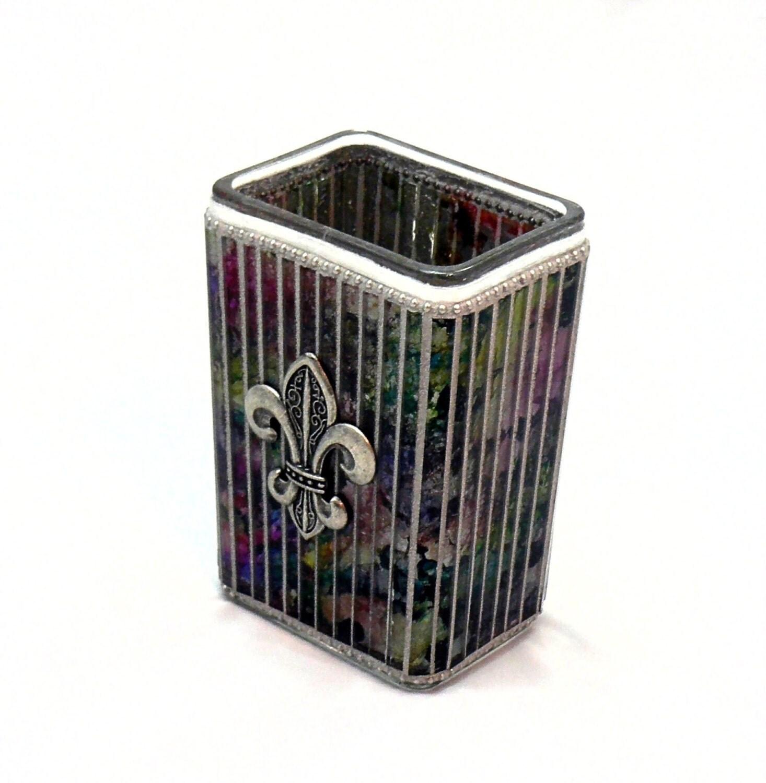 mosaic vase fleur de lis vase colorful vase decorative. Black Bedroom Furniture Sets. Home Design Ideas