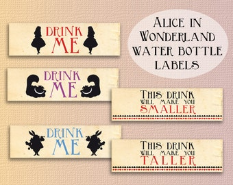 Alice in wonderland water bottle labels party printables wonderland decoration party Instant download party décor alice birthday label