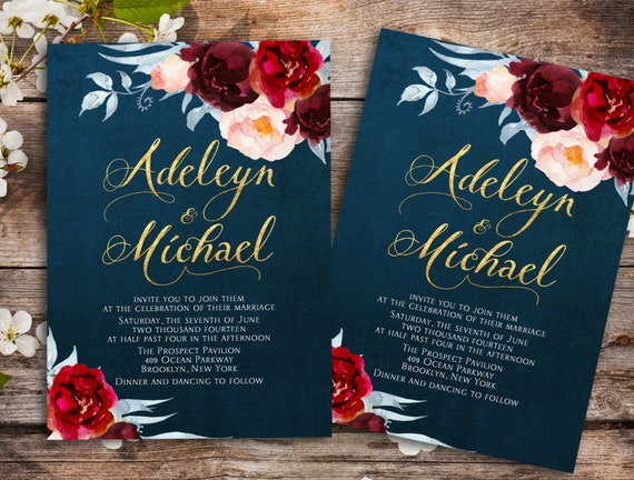 navy blue marsala wedding invitation printable wedding