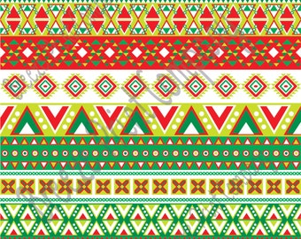 Red, lime, green, dark green and white Christmas Aztec tribal pattern craft  vinyl htv sheet, HTV, adhesive vinyl Peruvian pattern HTV2105