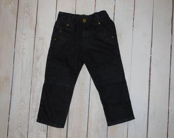 Vintage biker pants, Custom Made black denim, childs size 4.