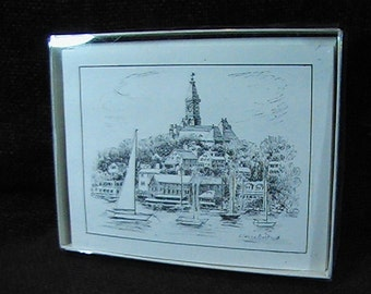 Vintage Marblehead Ma Stationery Set, Clarice Norton Artist, Set of 8 Cards With Envelopes
