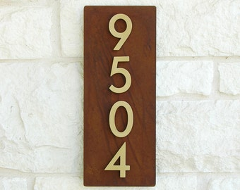 Curb Appeal Address Plaque w/ Brass House Numbers, Address Sign (Free Shipping)