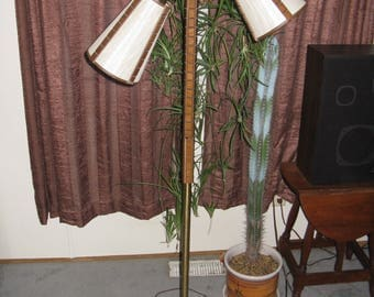 Vintage  wood and brass floor lamp with 2 lights fiberglass shades Mid Century Modern