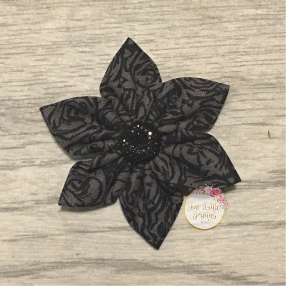 Large black and grey floral fabric flower headband | baby girl | hand sewn