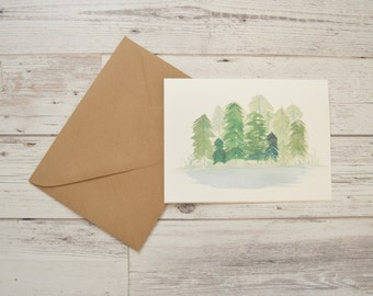 Watercolor Trees Greeting Card - Evergreen Trees Card - Forest Card - Forest Trees Card