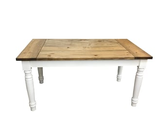 Berkshire Harvest Dining Country Farmhouse Table With Thick Turned Round  Legs / Farm Table / Harvest