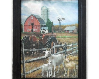 The Old Tractor, Barn and Goats, Ed Wargo, Art Print, Country Home Decor, Wall Hanging, Handmade, 19x15, Custom Wood Frame, Made in the USA