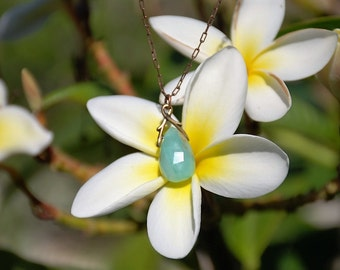 Aqua Peruvian Opal Semi-precious gemstone necklace pendant Boho Copper chain pendant Semi precious Peruvian Gemstone jewelry