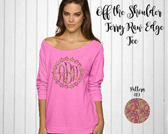 Monogram Next Level Off the Shoulder Terry Raw Edge Tee // Monogram Shirt with Flower Border in Pattern 419