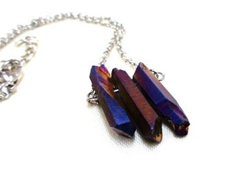 Small Purple Raw Quartz Necklace, Statement Necklace, Purple and Blue Quartz Necklace, Gift for Her, Raw Crystal, Small Gemstone Necklace