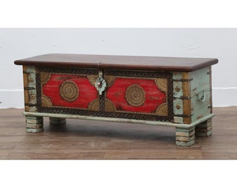 Solid Wood Chest With Brass Details