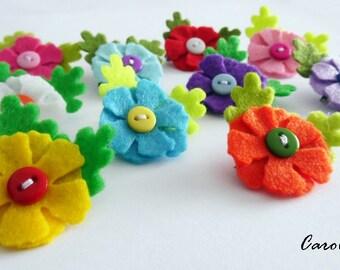 Felt flower brooch, 10 pieces, party favors, felt brooches, felt pin, flower pin, pin, brooch, accesories, girl accesories, Birthday favors