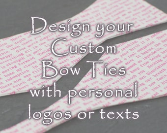 Custom bow tie personalized bowtie handmade - your own graphics or characters words text self tie freestyle coloful cotton bowtie