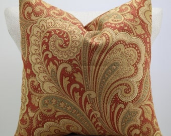 Paisley designer fabric,throw pillow,pillow cover,decorative pillow,accent pillow,same fabric on both sides.