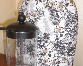 French Press Coffee Cozy Cafetaire Cover Black and White Toile with Metallic Gold