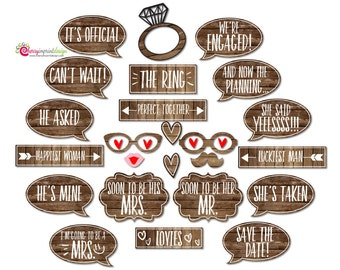 25 Rustic Engagement Photo Booth Props - INSTANT DOWNLOAD DIY Pdf