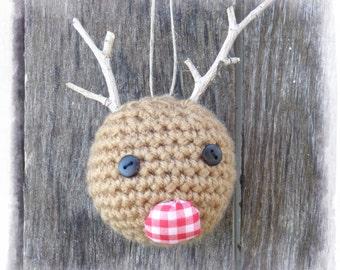 Reindeer Tree Ornament, Primitive Christmas Tree, OFG FAAP
