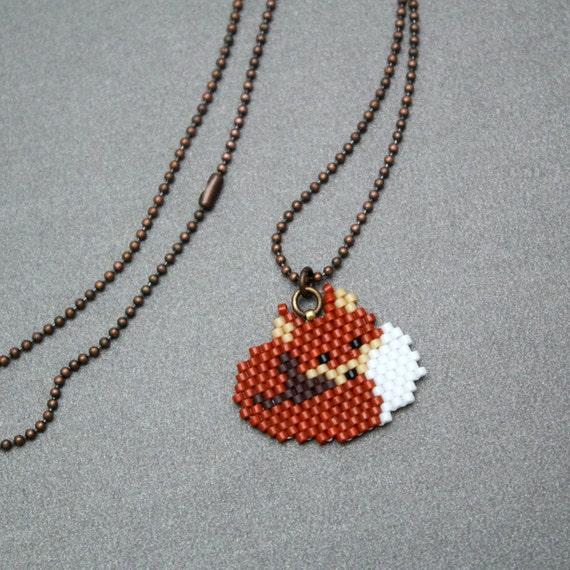fox necklace beaded animal jewelry woodland necklace