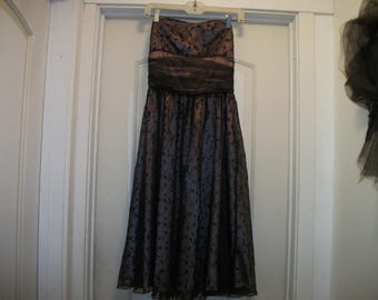 Darling 80s 90s does 50s Romy Black LACE over Pink SATIN Strapless PARTY Dress, Ex sm