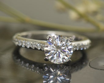 1.5ct Moissanite Engagement Ring in 14k White Gold, Forever One Moissanite Center Stone, Solitaire, Diamond Band, 4-Prong, Baylee B