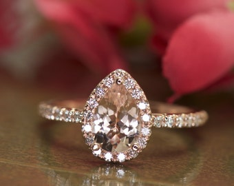 Pear Shape Morganite and Diamond Halo Engagement Ring in Rose Gold, 9x6mm 1.10ct Pear Morganite, French Pave Diamond Band, Genesis C