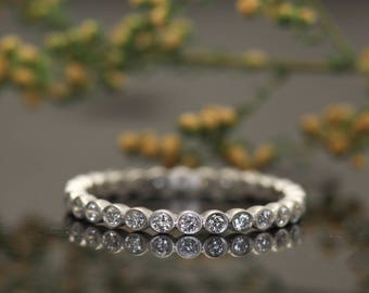 Bezel Set Diamond Bubble Eternity Ring in White Gold, 2mm Wide, 0.38ctw, Satin Finish, Stackable, Cadence S