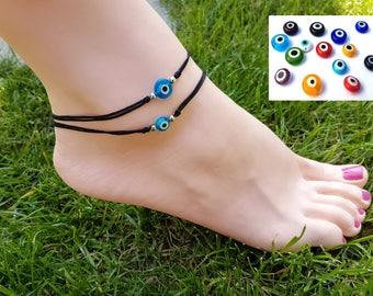 Adjustable Evil Eye Anklet ,Glass Evil Eye bead anklet on adjustable nylon cord