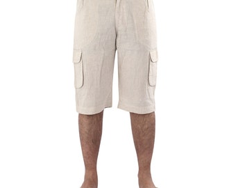 Beach   Mens  Linen long shorts with cargo pockets at the side, PLUS SIZE