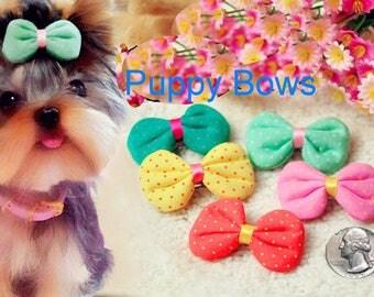 Puppy Bows ~ Puffy fabric polka dots dog hair bow pet clip or bands GREEN YELLOW CORAL pink  ~Usa seller
