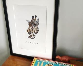 Giraffe Print - Giraffe Print  - Wall Art - Nursery - modern art - kids room - Africa - Baby shower-animal painting-Baby Gift