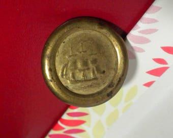 Jacksonian Button, Non dug, Pre-Civil War, Jacksonian period, 3 Mast Ship vest button.  Gilt Metal Button, 85% Gilt.