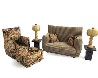 Barbie Doll Living Room Furniture 9-PC Play Set-1:6 scale-Brown Paisley print - works also with Blythe and any 11 inch fashion doll