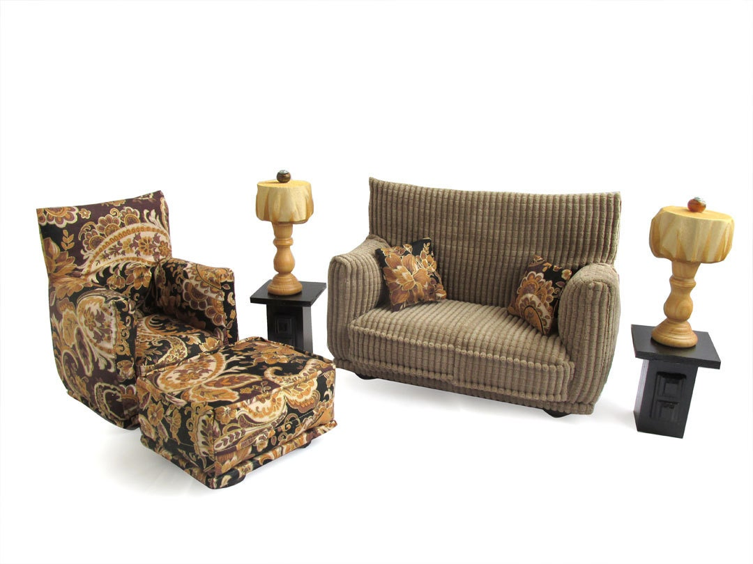 Printed Chairs Living Room Barbie Doll Living Room Furniture 9 Pc Play Set 16 Scale Brown