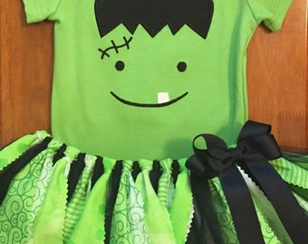 Girly Frankenstein Scrap Fabric Tutu Outfit