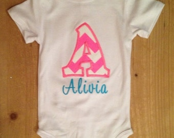 Hot Pink and Turquoise Chevron Initial Shirt or Baby Bodysuit