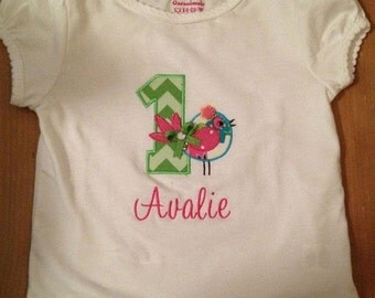 Pink, Green, and Blue Little Bird Birthday Embroidered Shirt or Baby Bodysuit
