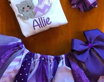 Lavender and Purple Puppy and Kitty Birthday Tutu Outfit