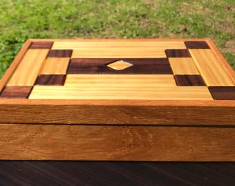 Handmade wooden oak box with walnut and pine design inlay for storage/jewelry