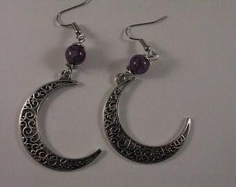 Handmade Carved Crescent Moon Earrings