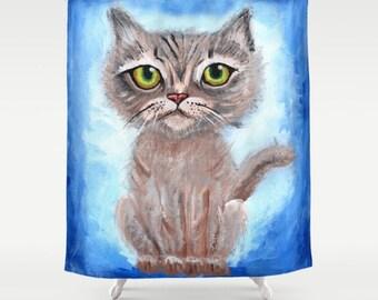 Cat shower curtain | Etsy