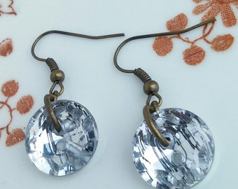 Sparkly Button Earrings Sparkle Sparkling Dangle Earrings Drop Earrings Antique Bronze Jewellery Gift