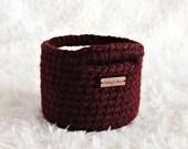 MINI BASKET | dark burgundy basket with handles, home decor, small storage solution, crochet basket, shelf decoration,nursery storage