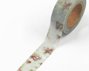 1 Roll MT Washi Tape Shabby Chic Flower Design 15mm x 10meters For Gift Wrap, DIY, Craft, Stationary, Scrapbooking, Card Making, Collage